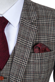 Retro Brown Plaid Tweed  3 Piece Suit