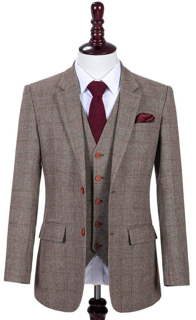 Brown Prince of Wales Tweed 2 Piece