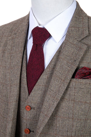 Brown Prince of Wales Tweed 3 Piece