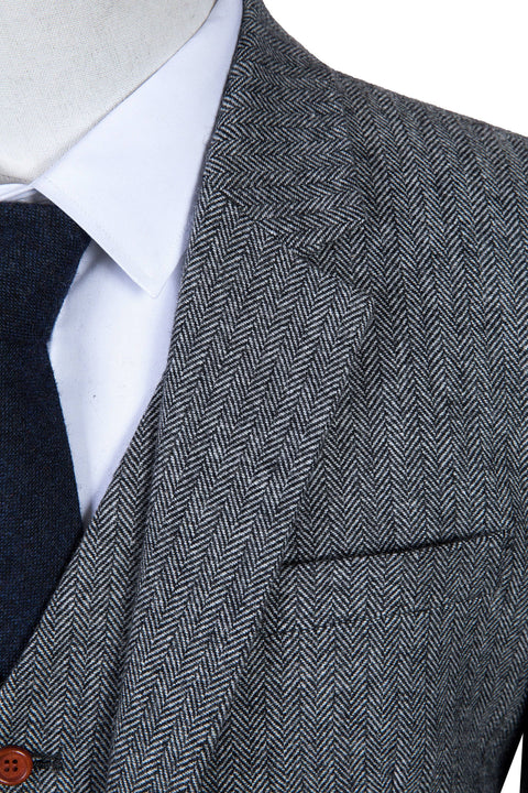 Classic Grey Herringbone Tweed