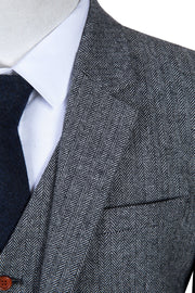Classic Grey Herringbone Tweed  3 Piece Suit