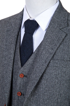 Classic Grey Herringbone Tweed 3 Piece