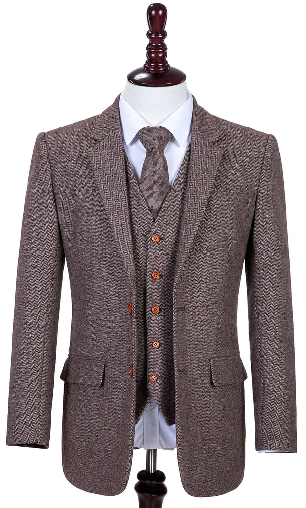 Light Brown Herringbone Tweed 2 Piece