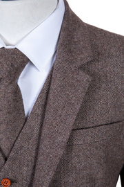 Light Brown Herringbone Tweed Jacket