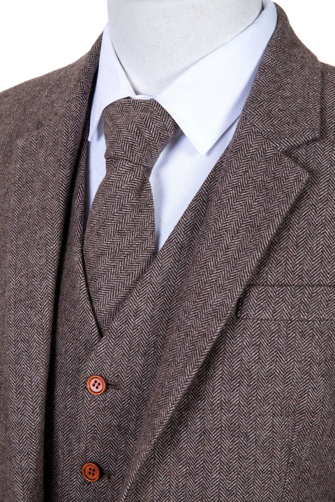 Light Brown Herringbone Tweed
