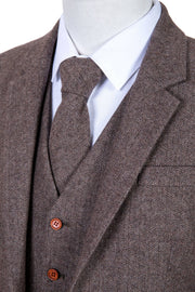 Light Brown Herringbone Tweed  3 Piece Suit