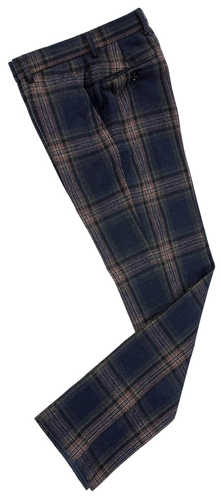 Midnight Blue Plaid Tweed Trousers