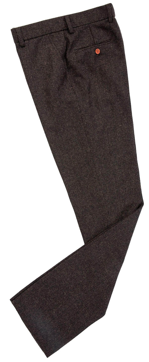 Dark Brown Herringbone Tweed Trousers