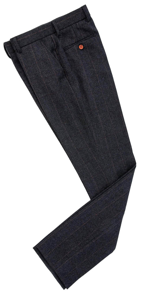 Dark Grey Estate Herringbone Tweed Trousers