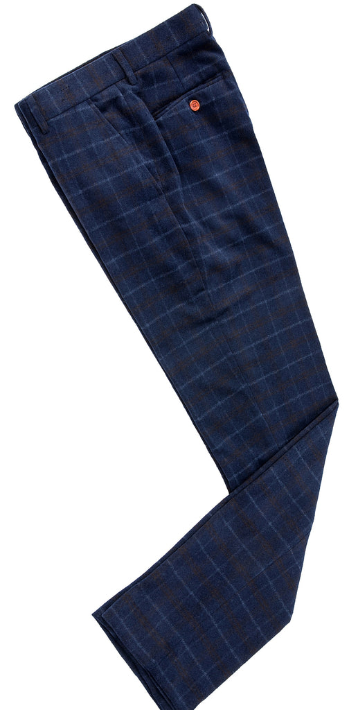Navy Overcheck Twill Tweed Trousers