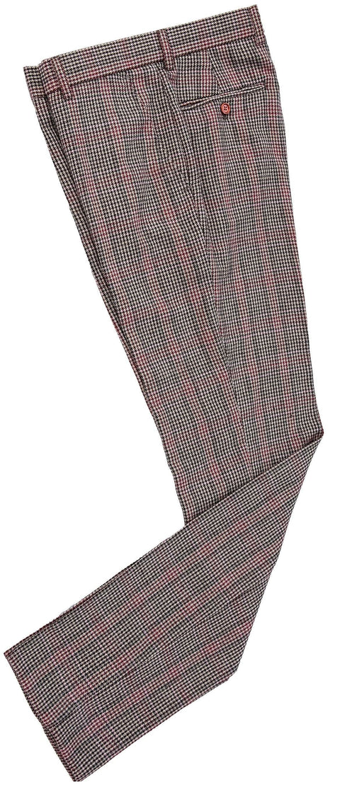 Brown Red Houndstooth Plaid Tweed Trousers