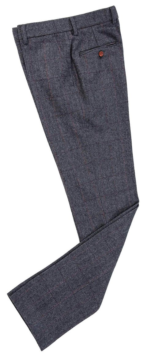 Traditional Grey Estate Herringbone Tweed Trousers
