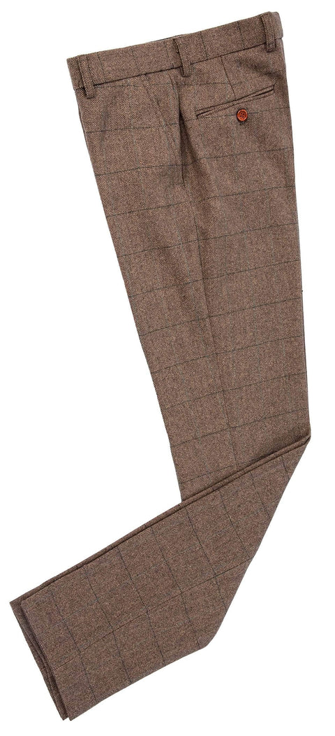 Traditional Brown Estate Herringbone Tweed Trousers