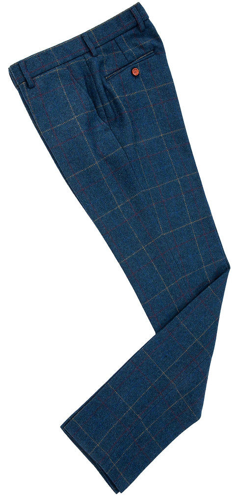 Blue Overcheck Twill Tweed Trousers