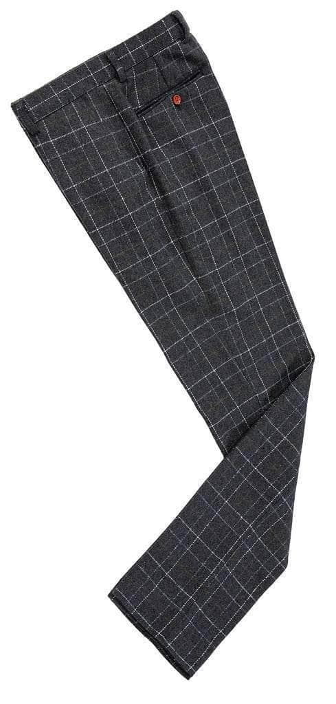 Grey Overcheck Twill Tweed Trousers