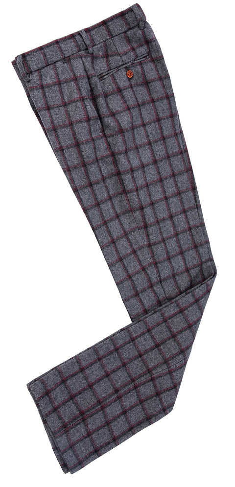 Grey Red Windowpane Tweed Trousers
