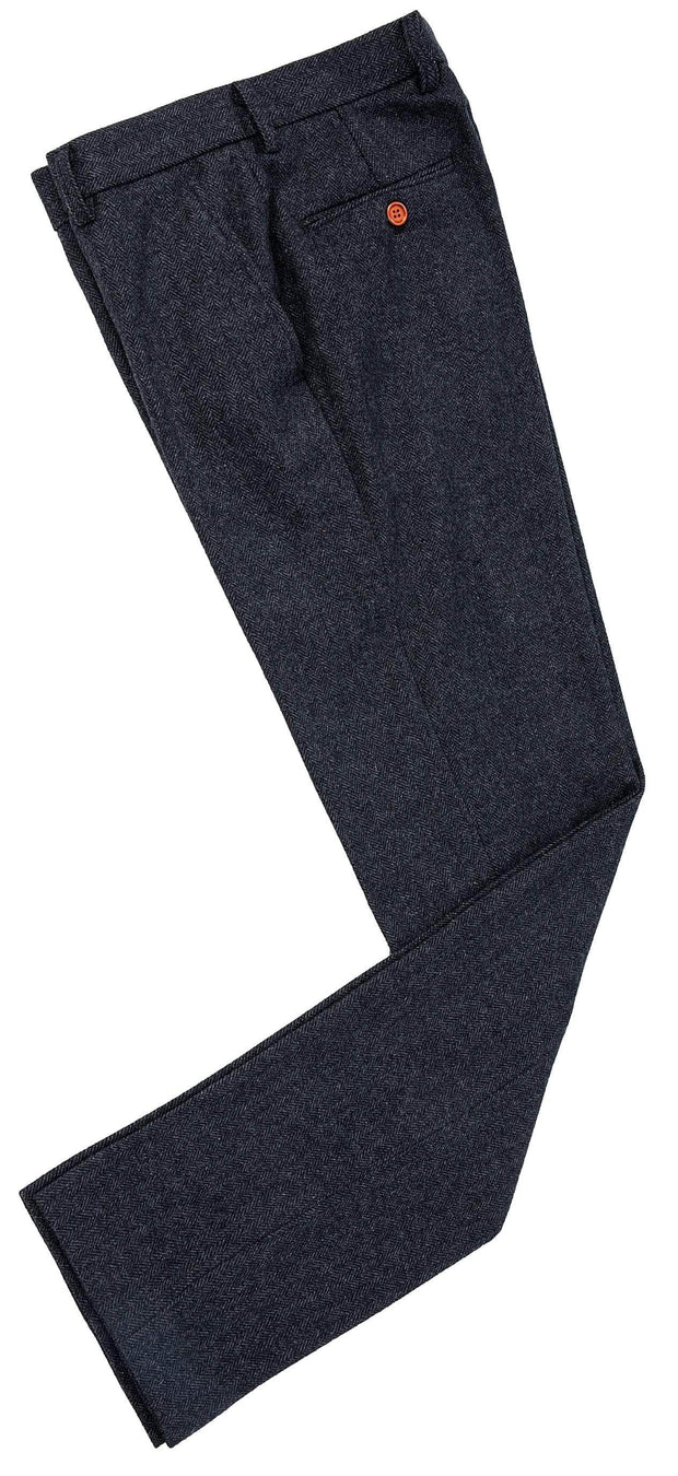 Charcoal Grey Herringbone Tweed Trousers