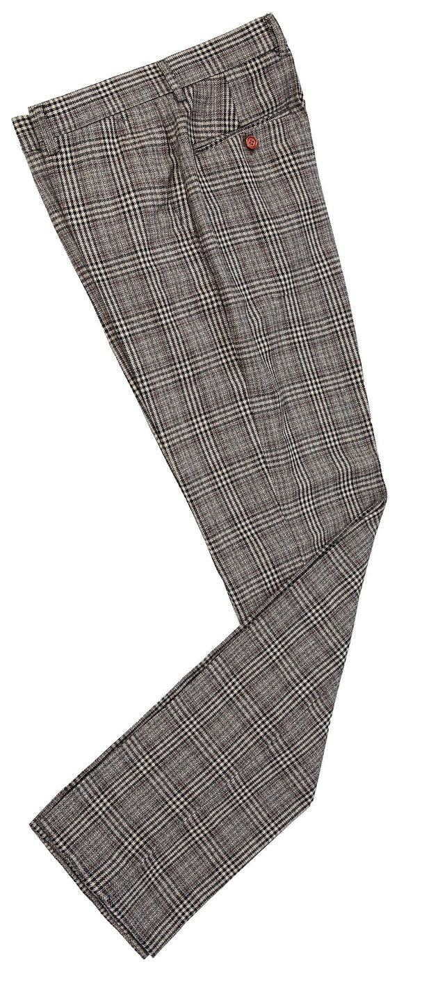 Retro Brown Plaid Tweed Trousers