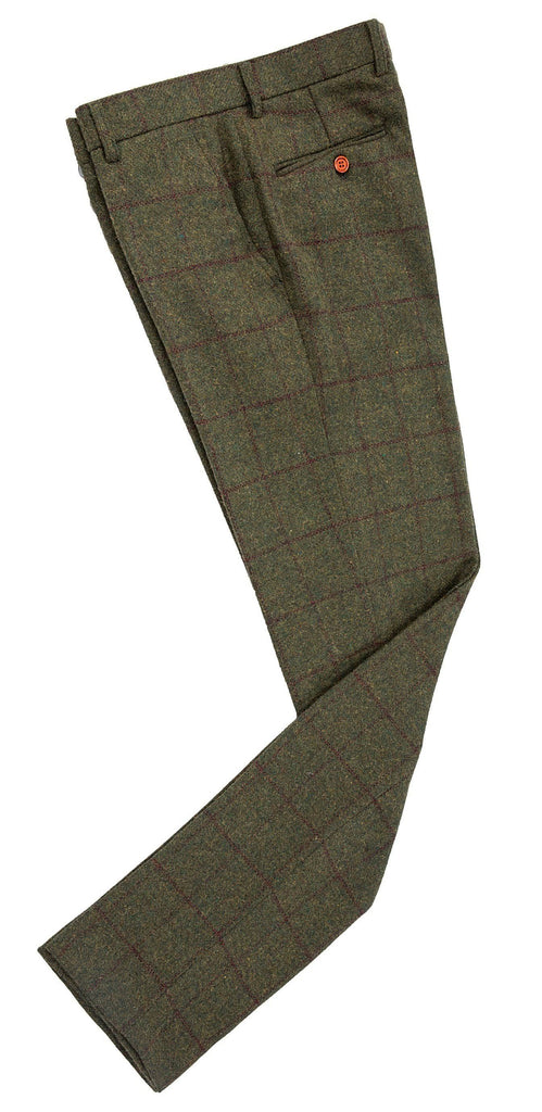 Olive Green Windowpane Tweed Trousers
