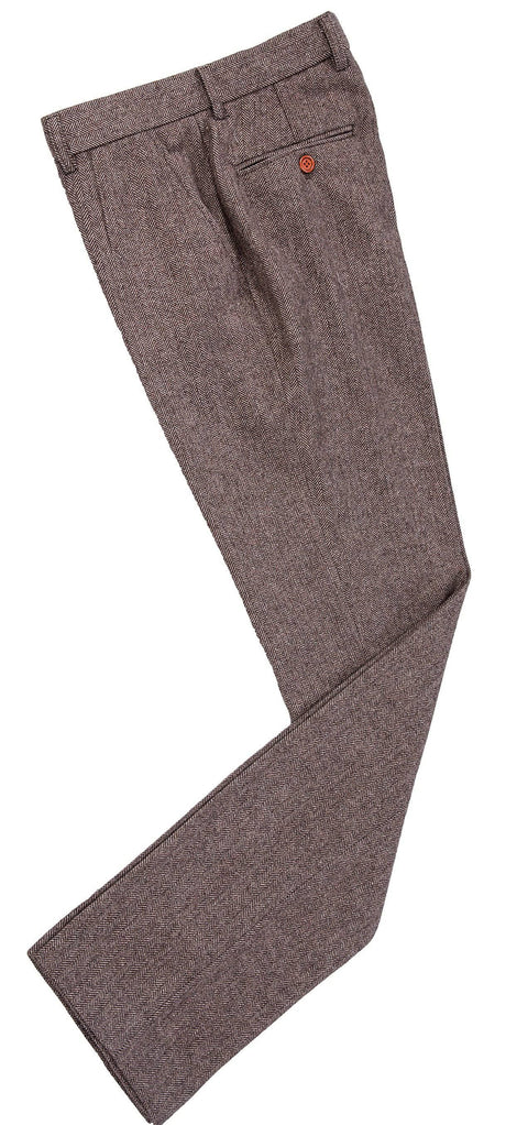 Light Brown Herringbone Tweed Trousers