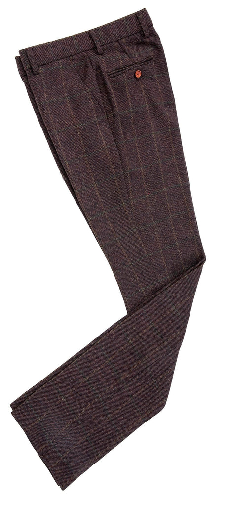 Dark Brown Green Windowpane Tweed Trousers
