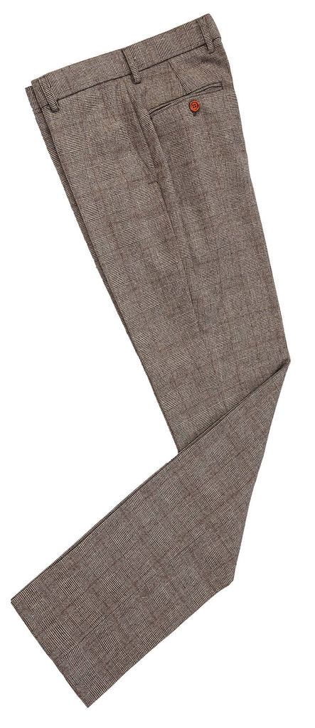 Brown Prince of Wales Tweed Trousers