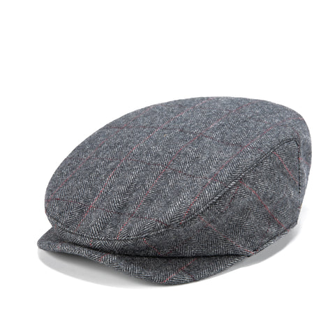 Traditional Grey Estate Herringbone Tweed Flat Cap