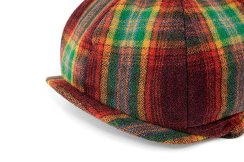Rainbow Red Plaid Tweed Newsboy Cap