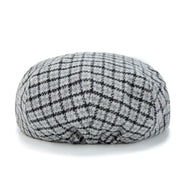 Grey Houndstooth Tweed Flat Cap