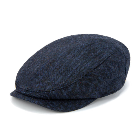 Navy Herringbone Tweed Flat Cap
