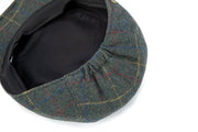 Dark Green Overcheck Twill Tweed Flat Cap