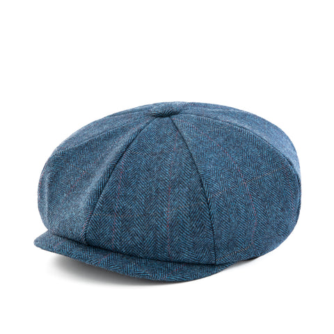 Blue Estate Herringbone Tweed Newsboy Cap