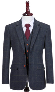 Navy Windowpane Tweed 3 Piece