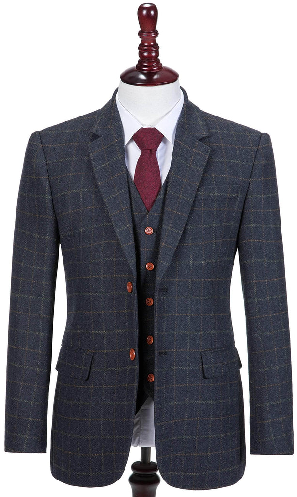 Navy Tattersall Tweed 3 Piece