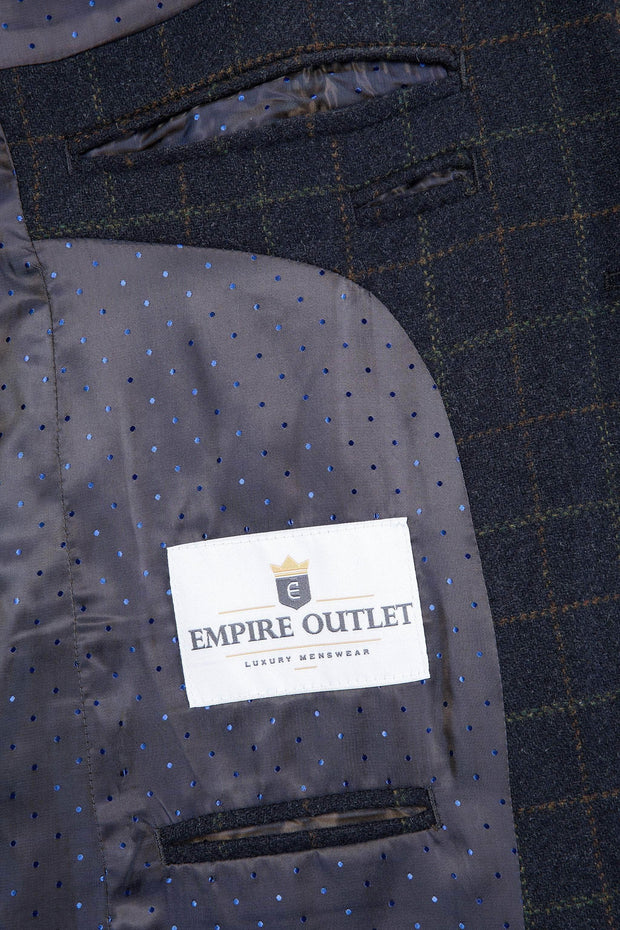 Navy Tattersall Tweed Jacket