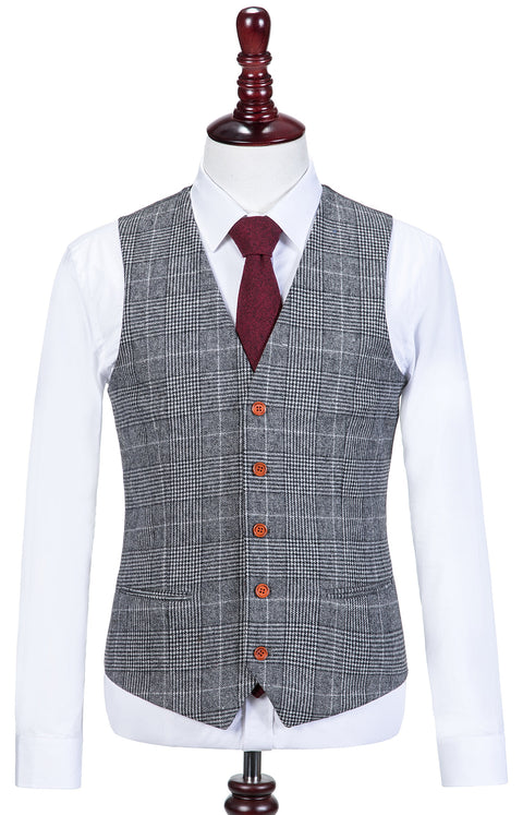 Light Grey Houndstooth Plaid Tweed  3 Piece Suit