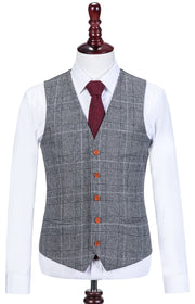 Light Grey Houndstooth Plaid Tweed Waistcoat