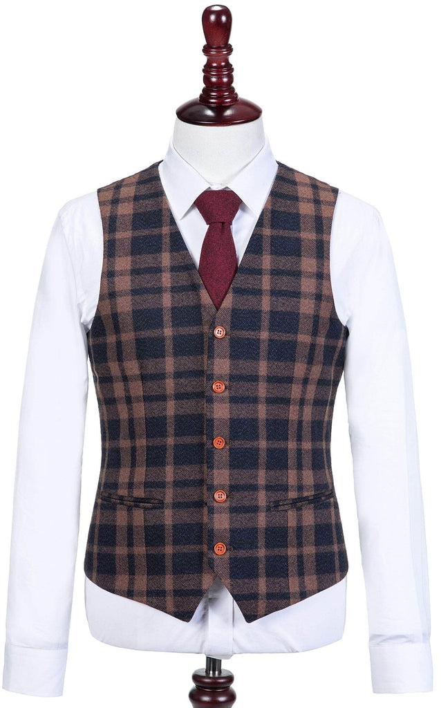 Brown Navy Plaid Tweed Waistcoat