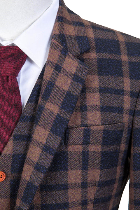 Brown Navy Plaid Tweed Jacket