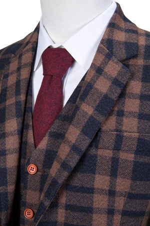 Brown Navy Plaid Tweed 3 Piece