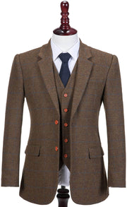 Brown Tattersall Tweed 3 Piece