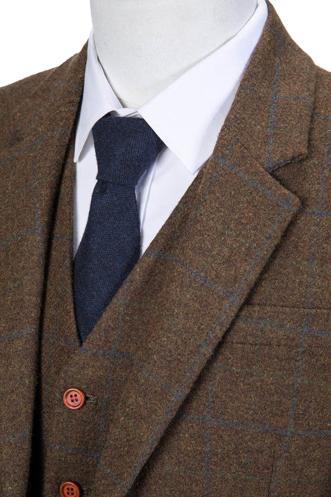 Brown Tattersall Tweed  3 Piece Suit