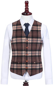 Cream Brown Madras Tweed Waistcoat