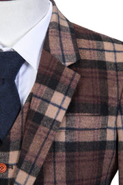Cream Brown Madras Tweed Jacket
