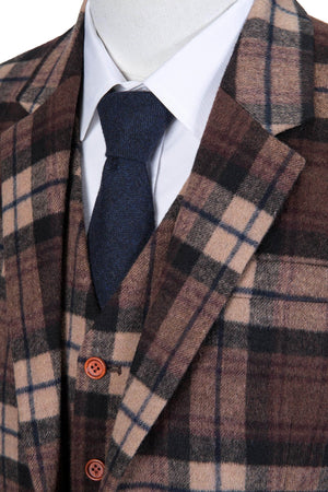 Cream Brown Madras Tweed 3 Piece