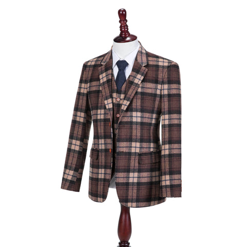 Cream Brown Madras Tweed  3 Piece Suit