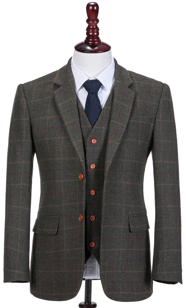 Dark Green Tattersall Tweed 3 Piece