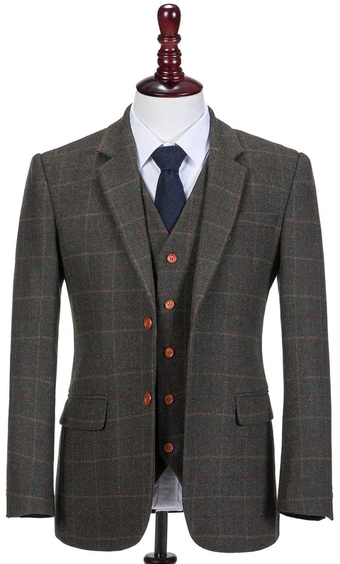 Dark Green Tattersall Tweed