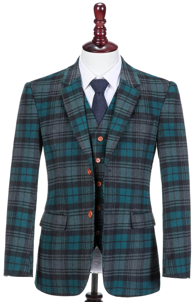 Teal Madras Tweed Jacket