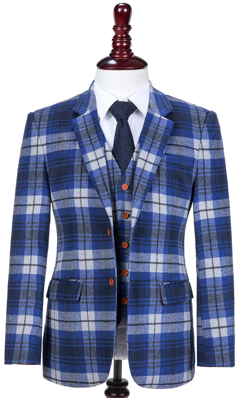 Blue Madras Tweed  3 Piece Suit